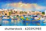 marsaxlokk village harbor of... | Shutterstock . vector #620392985