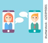 man and woman on on smartphone...   Shutterstock .eps vector #620395001