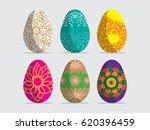 happy easter.set of easter eggs ... | Shutterstock .eps vector #620396459
