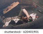 drunk bearded young man... | Shutterstock . vector #620401901