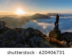 successful man hiker on top of...   Shutterstock . vector #620406731