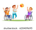 group happy disabled kids in... | Shutterstock .eps vector #620409695