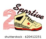 slogan and sneaker vector art... | Shutterstock .eps vector #620412251