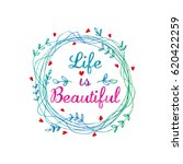 life is beautiful card  | Shutterstock .eps vector #620422259