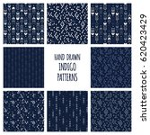set of hand drawn indigo blue... | Shutterstock .eps vector #620423429