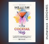 cocktail party flyer.... | Shutterstock .eps vector #620424401