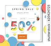 spring sale background banner... | Shutterstock .eps vector #620424725