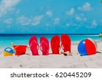 slippers  toys and diving mask... | Shutterstock . vector #620445209