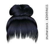 bun  hairs with fringe brunette ... | Shutterstock .eps vector #620454611