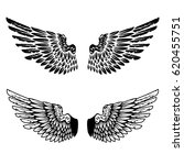 vintage wings isolated on white ...