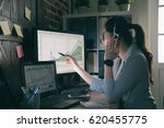 young girl operator helping... | Shutterstock . vector #620455775