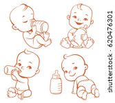 set with cute little baby with... | Shutterstock .eps vector #620476301