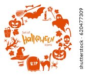 round frame with halloween... | Shutterstock . vector #620477309