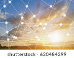 Small photo of modern and wireless sensor network, sensor node and connecting line, ICT (information communication technology), internet of things, abstract image visual, high voltage towers background.