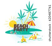 Beach Party In Comic Humor Fla...