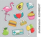 set of fun trendy vintage... | Shutterstock .eps vector #620488247