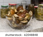 Fresh mushrooms in a kitchen - stock photo