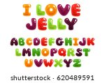 colorful jelly alphabets for... | Shutterstock .eps vector #620489591