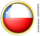 chile flag on round badge...   Shutterstock .eps vector #620492891