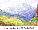 watercolor landscapes. hand... | Shutterstock . vector #620494247