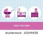 new born  baby birthday card ... | Shutterstock .eps vector #62049658