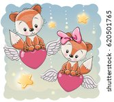 valentine card lovers foxes are ... | Shutterstock .eps vector #620501765