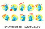vector collection of flat funny ... | Shutterstock .eps vector #620503199
