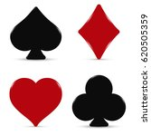 the suits of a deck of cards in ... | Shutterstock .eps vector #620505359