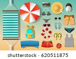vector set of things for summer ... | Shutterstock .eps vector #620511875