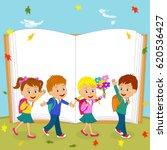 children are going to school on ...   Shutterstock .eps vector #620536427