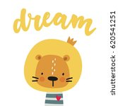 print with cute lion. can be... | Shutterstock .eps vector #620541251