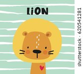 Print With Cute Lion. Can Be...