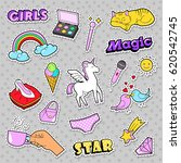 fashion girls badges  patches ... | Shutterstock .eps vector #620542745