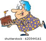 cartoon woman with a birthday... | Shutterstock .eps vector #620544161