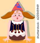 child blows out candles on the... | Shutterstock .eps vector #620545949
