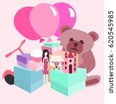 pile of girls gifts vector... | Shutterstock .eps vector #620545985