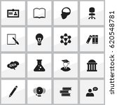 set of 16 editable school icons.... | Shutterstock .eps vector #620548781