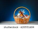 gift basket on blue background | Shutterstock . vector #620551604