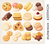 cookies and biscuits icons set. ... | Shutterstock .eps vector #620554124