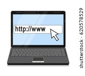 laptop connected to internet on ... | Shutterstock .eps vector #620578529