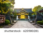 Small photo of Sunset under Tokyo kory aku park?Gold wall of the famous niko toshop shrine