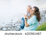 mother and son laughing and... | Shutterstock . vector #620581487