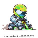 cartoon go kart racer | Shutterstock .eps vector #620585675