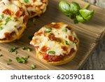 homemade pepperoni mini pizza...   Shutterstock . vector #620590181