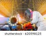 pipe welding  welder industrial ... | Shutterstock . vector #620598125