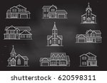 set of thin line icon suburban... | Shutterstock .eps vector #620598311
