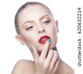 beauty sexy woman with red lips ... | Shutterstock . vector #620632214
