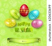 happy easter greeting... | Shutterstock .eps vector #620633699