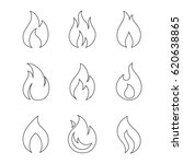 fire outline icons on white... | Shutterstock .eps vector #620638865