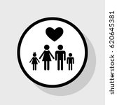 family symbol with heart.... | Shutterstock .eps vector #620645381